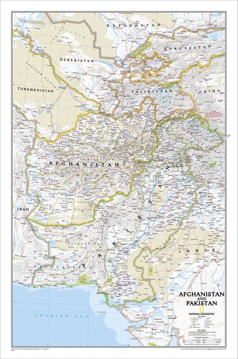 Afghanistan And Pakistan Political Map Laminated National - Afghanistan political map