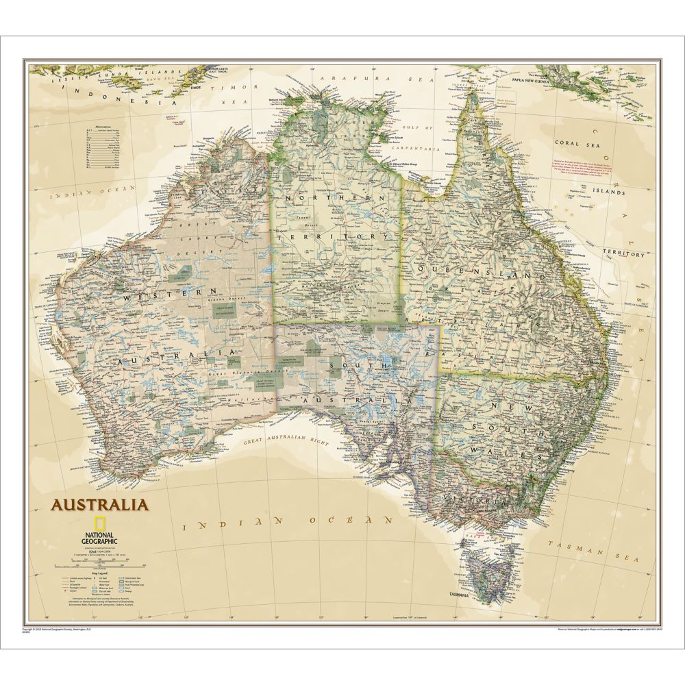 Australia Political Map Earthtoned National Geographic Store - Australia political map