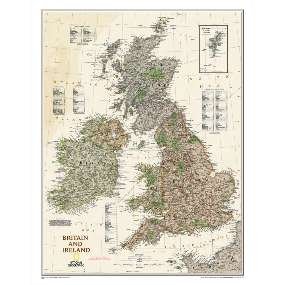 Britain And Ireland Political Map Earthtoned National - National geographic political map
