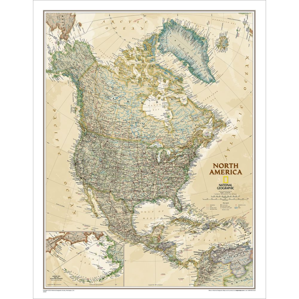 North America Executive Wall Map National Geographic Store - Map of n america