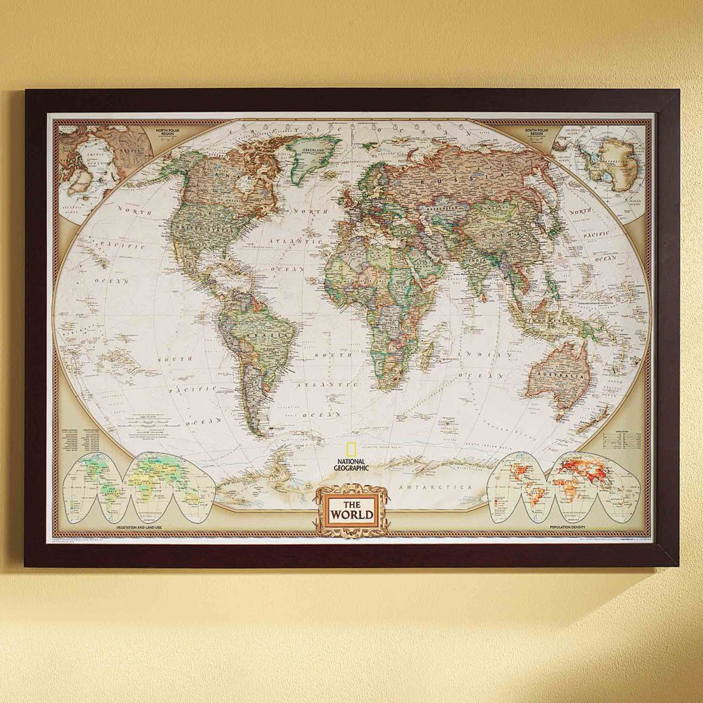 world political map earth toned poster size and framed national geographic store. Black Bedroom Furniture Sets. Home Design Ideas