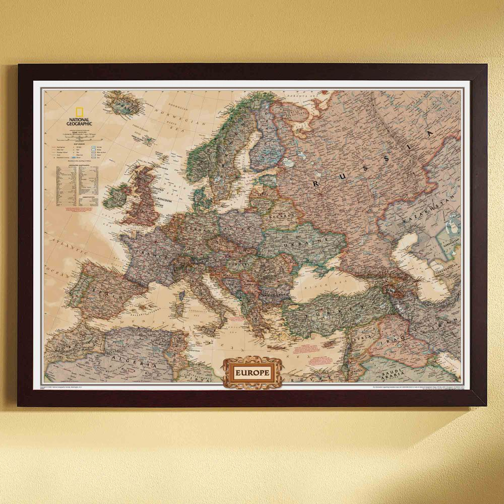 Framed maps wood and aluminum frames for wall maps of wall map europe political map earth toned framed national geographic store gumiabroncs Choice Image
