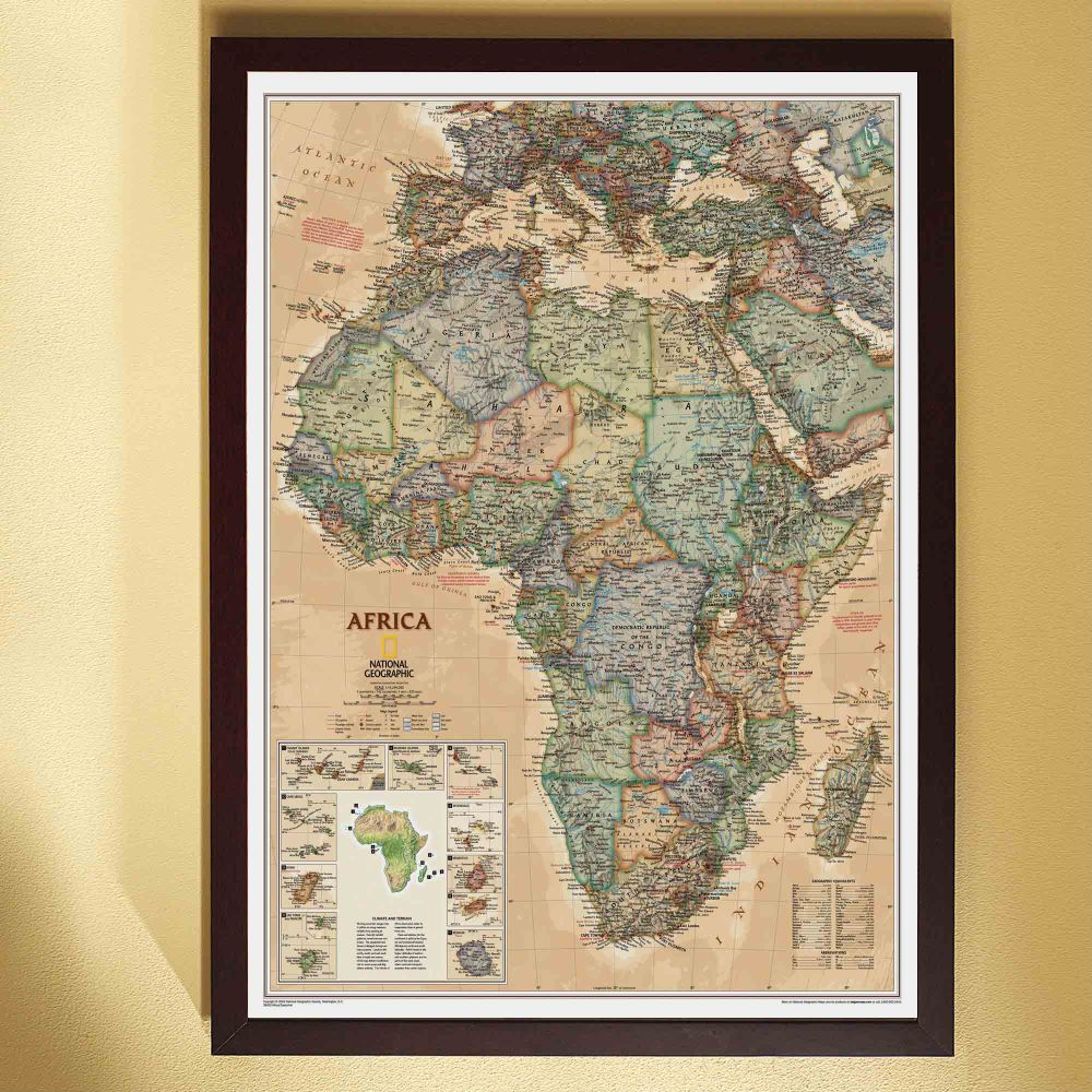 africa political map earth toned framed