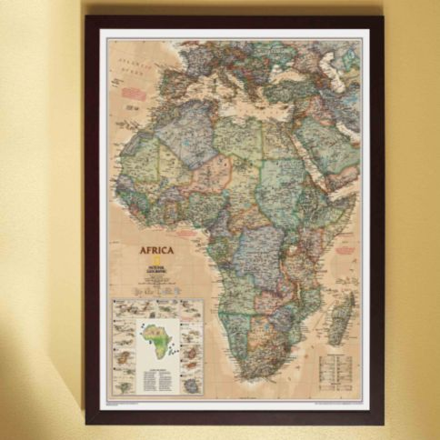 africa political map earth toned framed national geographic store