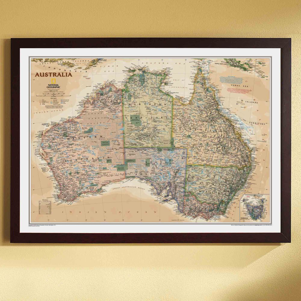 Australia political map earth toned framed national australia political map earth toned framed national geographic store gumiabroncs Gallery