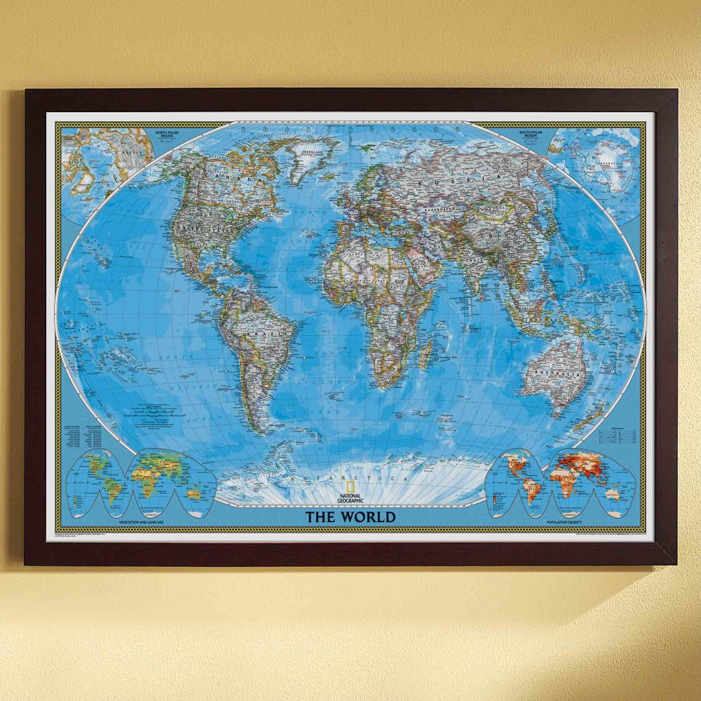 world political map classic poster size and framed