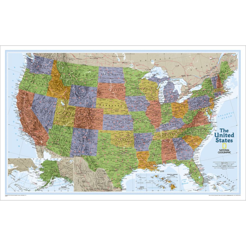 United States Explorer Wall Map Laminated National Geographic Store - Laminated us road map
