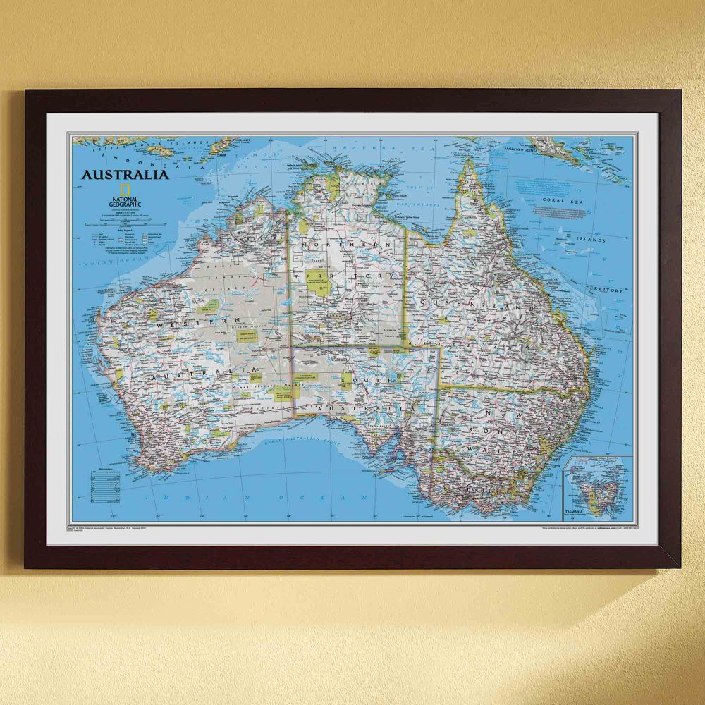 Australia Political Map Classic Framed National Geographic Store - Political map of australia