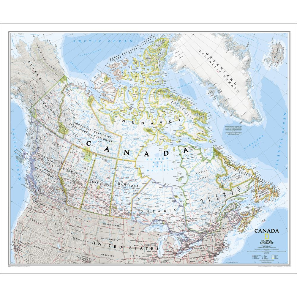 Canada classic wall map laminated national geographic store gumiabroncs Choice Image