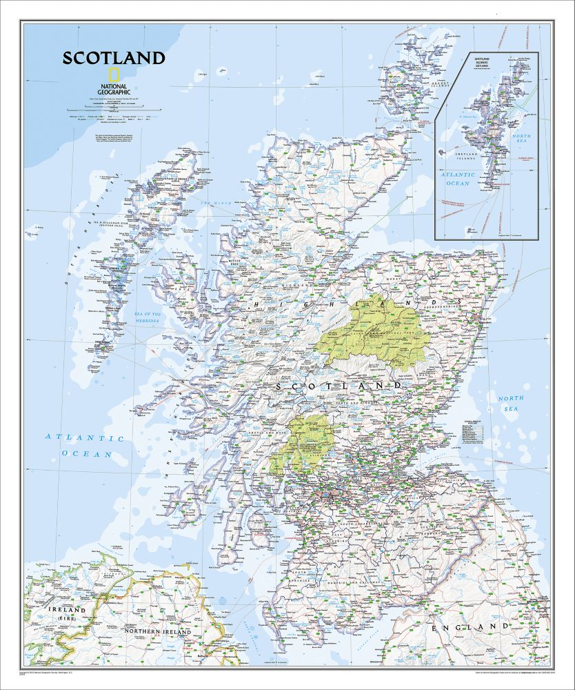 Scotland political map national geographic store scotland classic political map 000 gumiabroncs Choice Image