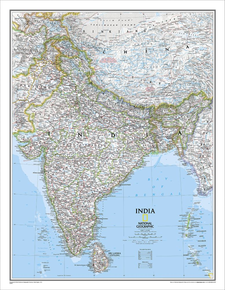 India classic wall map laminated national geographic store sciox Images