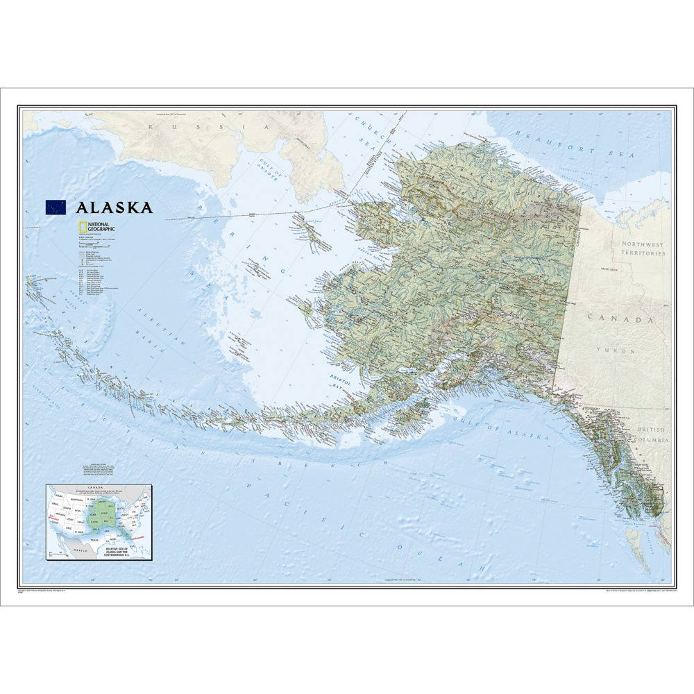US State Maps Laminated United States Maps National Geographic - Alaska in us map