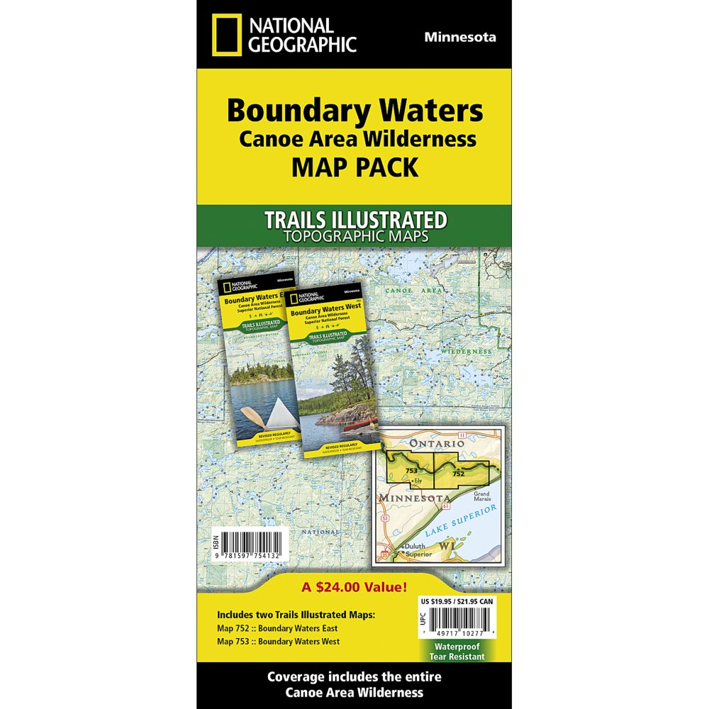 Boundary Waters Canoe Area Wilderness Trail Maps Map Pack Bundle - Us map showing boundary waters minnesota