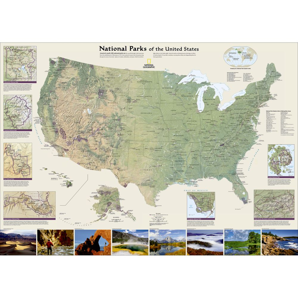 US Wall Maps Laminated US Map Posters National Geographic Store - Map west usa national parks