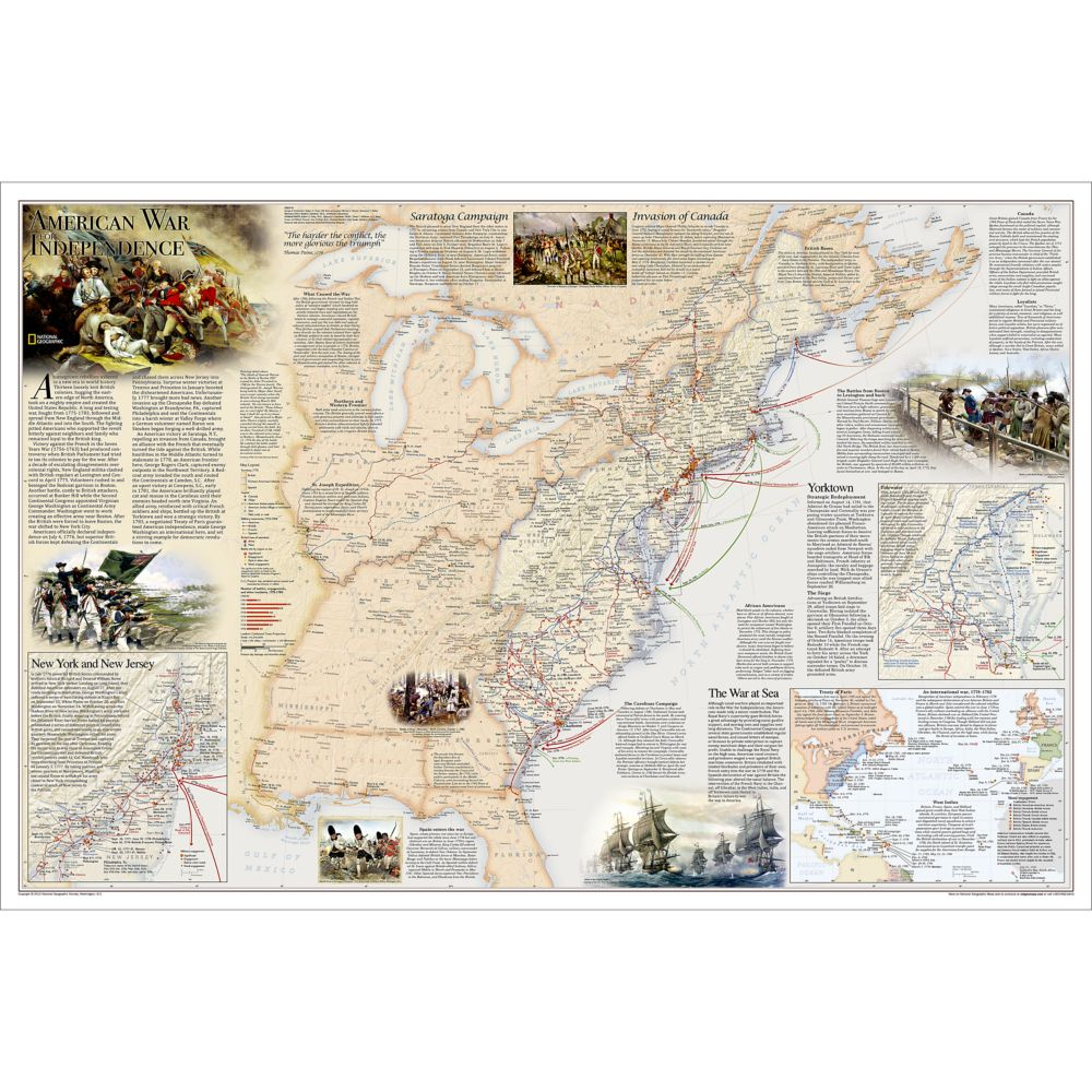 Battles of the revolutionary war and war of 1812 2 sided wall map battles of the revolutionary war and war of 1812 2 sided wall map laminated national geographic store sciox Image collections