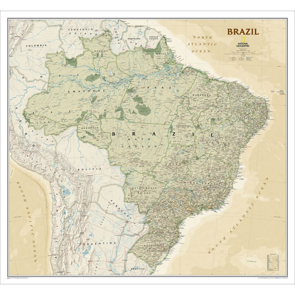Brazil Political Map Earthtoned National Geographic Store - Brazil political map