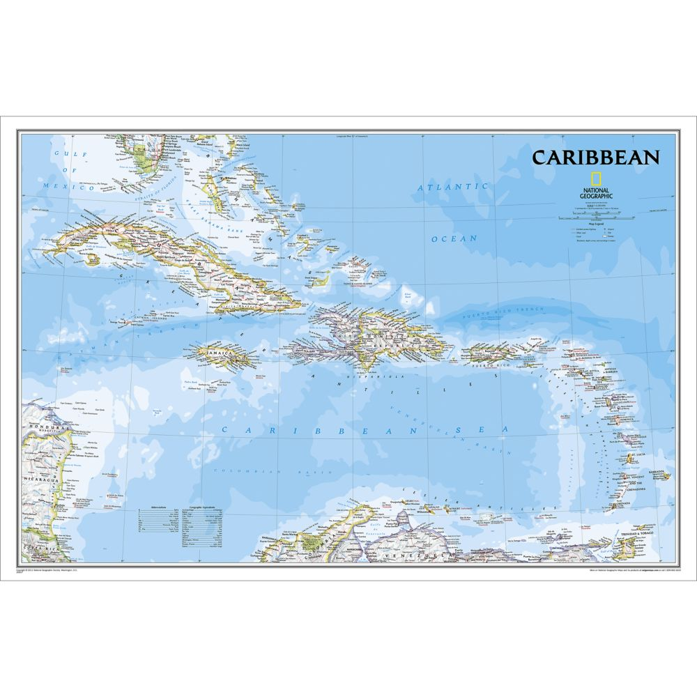 Caribbean Classic Wall Map National Geographic Store - Caribbean maps