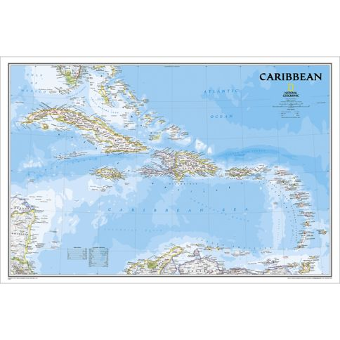 Caribbean Classic Wall Map National Geographic Store - Map caribbean