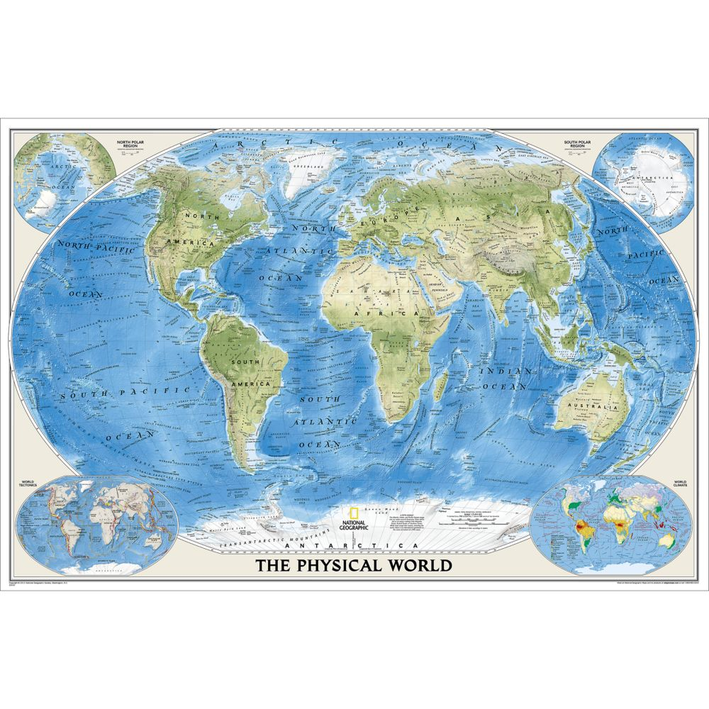 World Physical Wall Map Poster Size and Laminated National Geographic Store