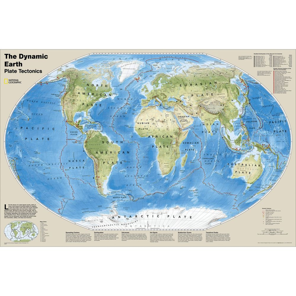 The Dynamic Earth Plate Tectonics Map National Geographic Store