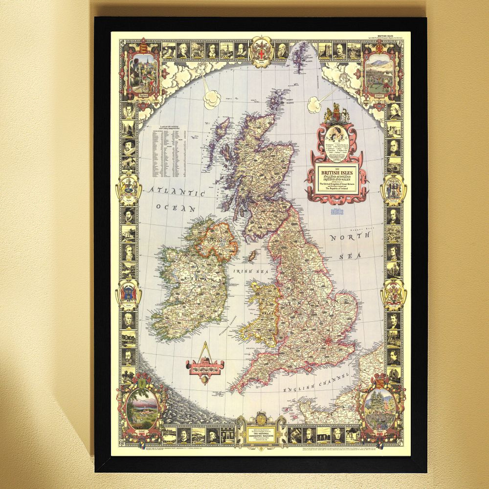 1949 British Isles Map Framed  National Geographic Store