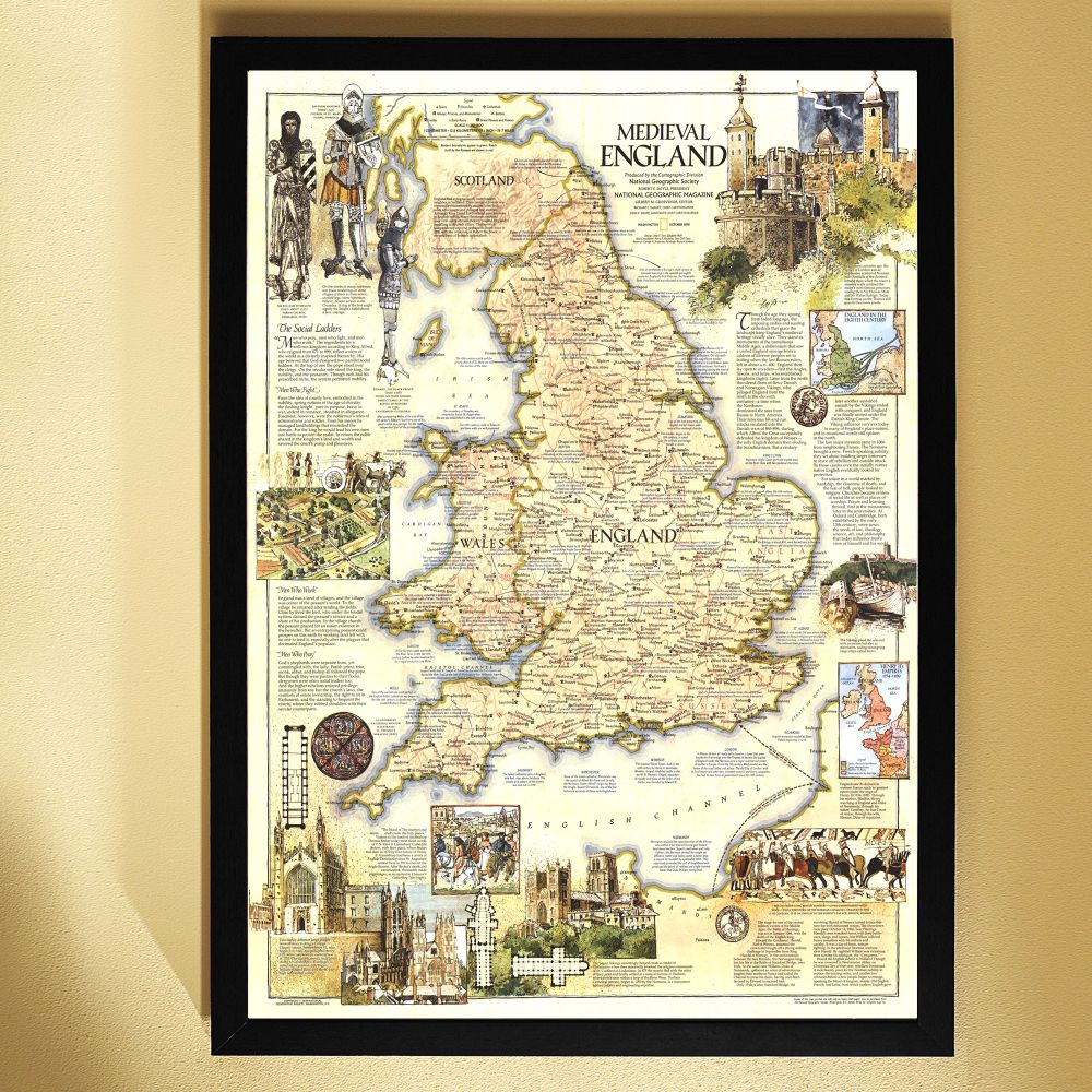 1979 medieval england map framed national geographic store