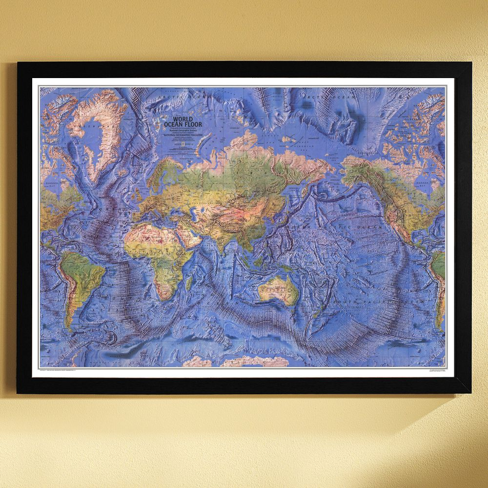 Worksheet. 1981 World Ocean Floor Map Framed  National Geographic Store