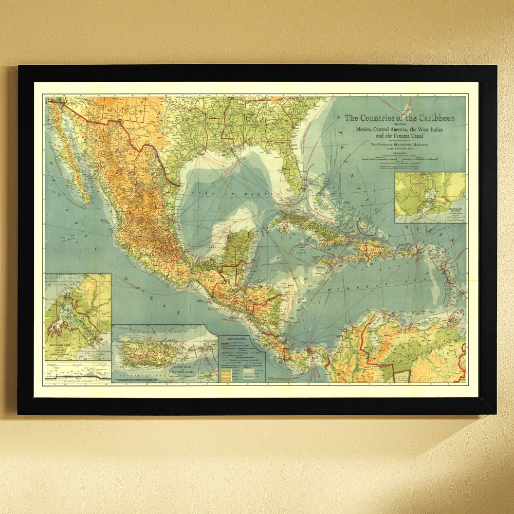 Countries Of The Caribbean Map Framed National Geographic - Caribbean map