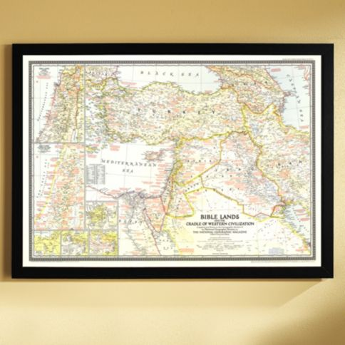 Bible Lands And The Cradle Of Western Civilization Map - Framed us map