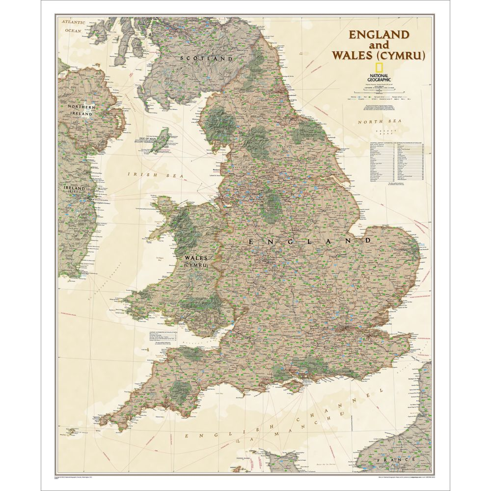England and wales executive wall map national geographic store gumiabroncs Choice Image
