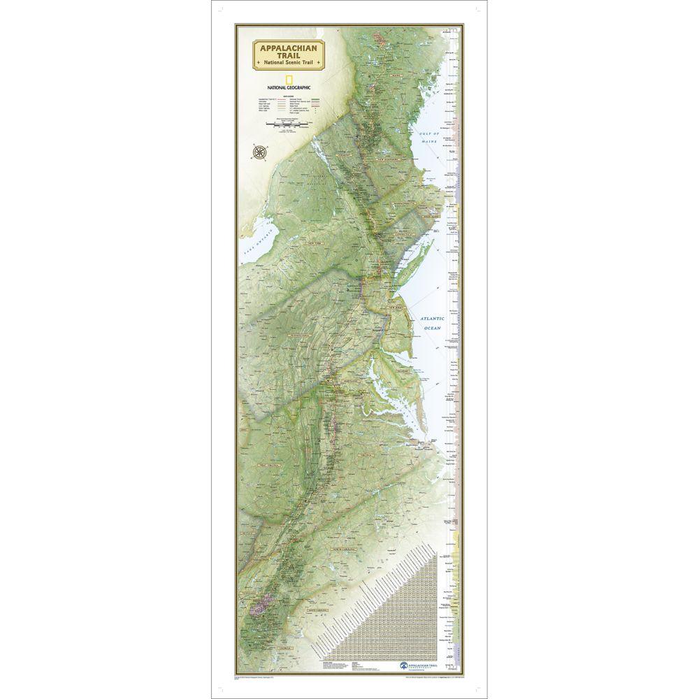 Appalachian Trail Wall Map National Geographic Store - Appalachian trail us map