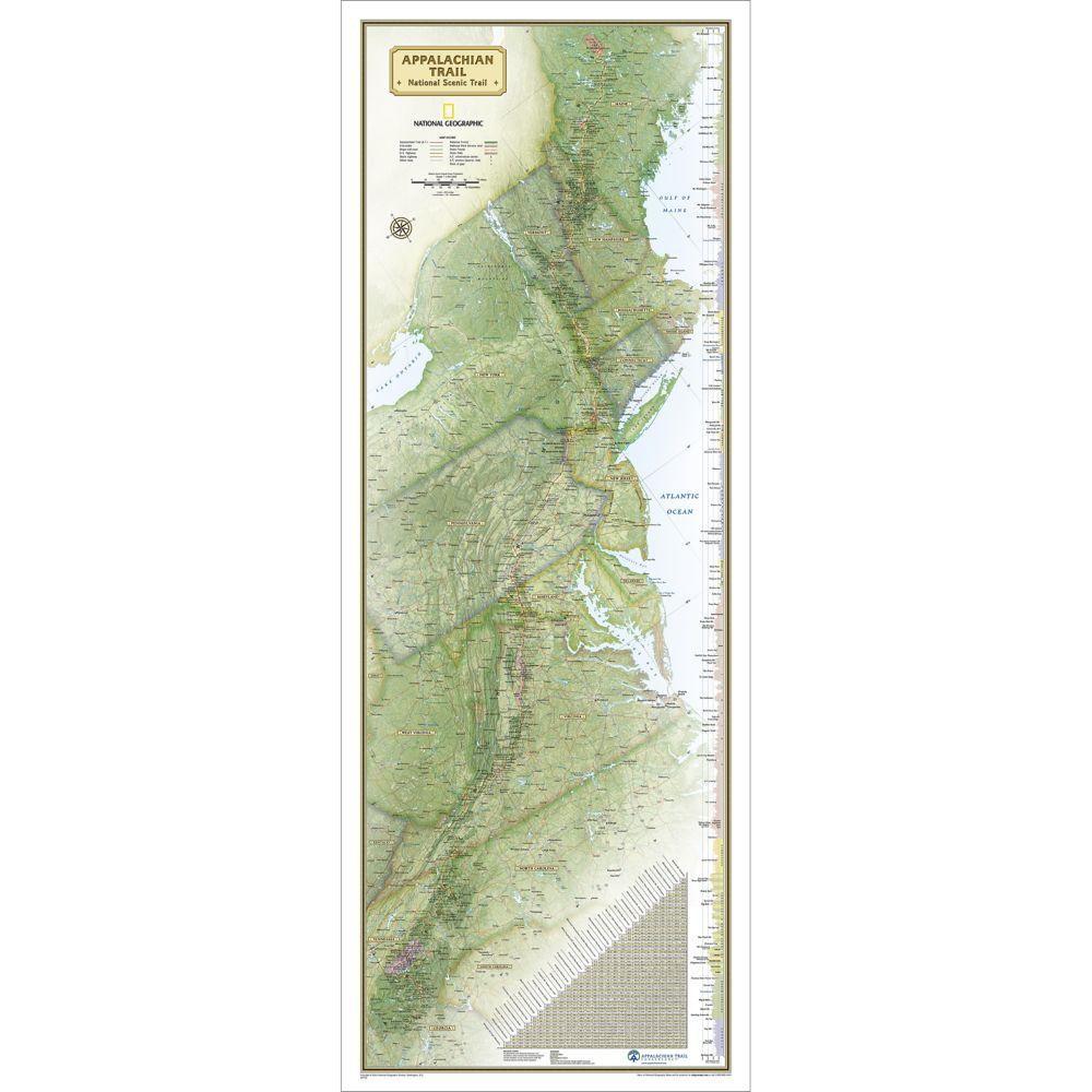 Appalachian Trail Wall Map Boxed National Geographic Store - Appalachian trail us map