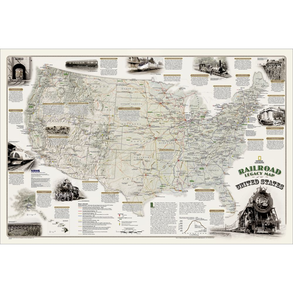 Railroad legacy of the united states wall map national railroad legacy of the united states wall map national geographic store gumiabroncs Choice Image