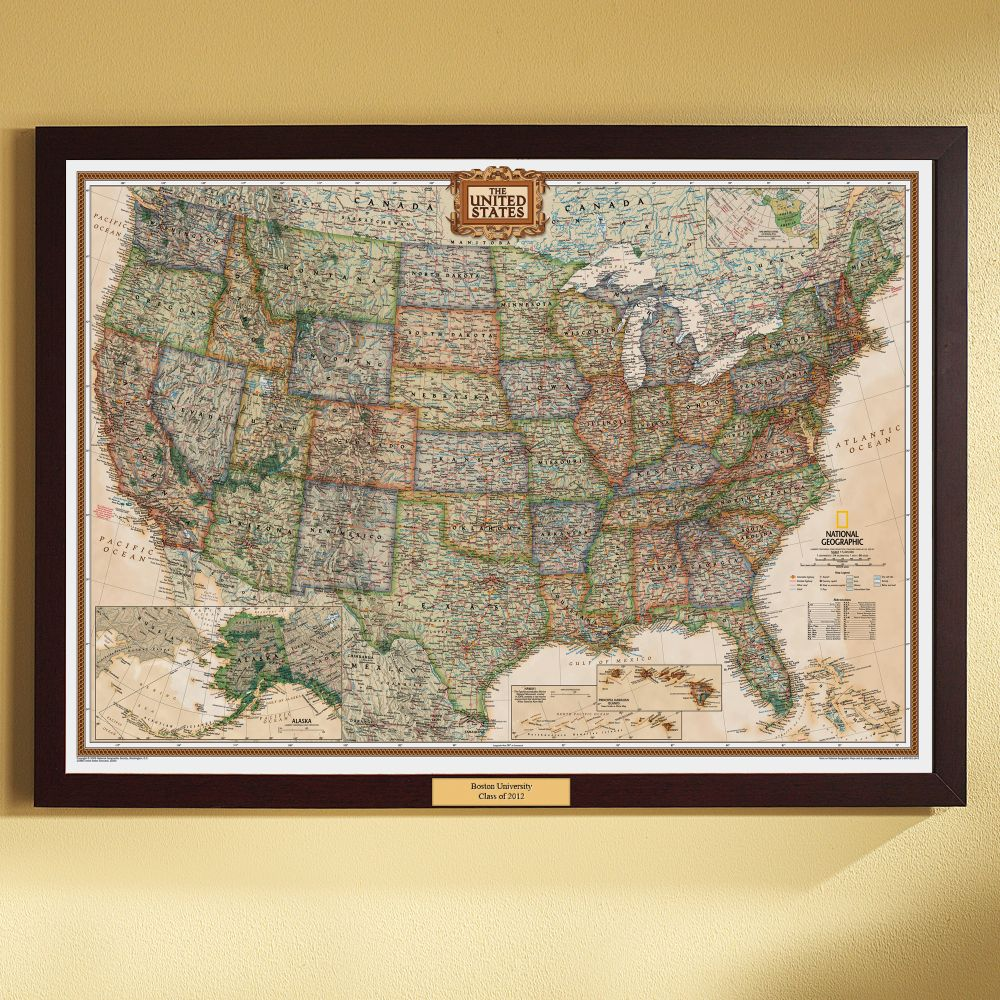US Political Map Earthtoned Poster Size and Framed with