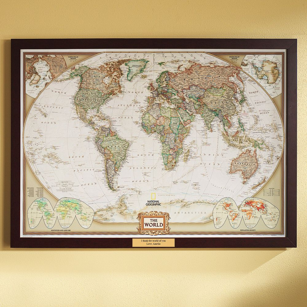 world political map earth toned poster size and framed with personalized plaque national geographic store