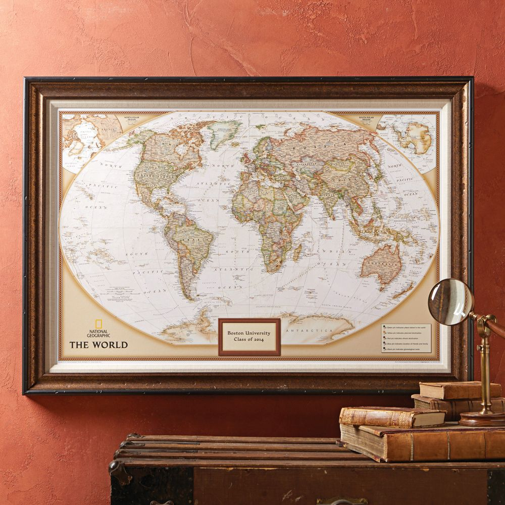 Framed laminated wall maps national geographic store national geographic my world personalized map premium edition sciox Images