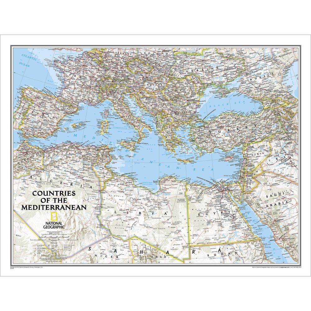 countries of the mediterranean classic wall map laminated