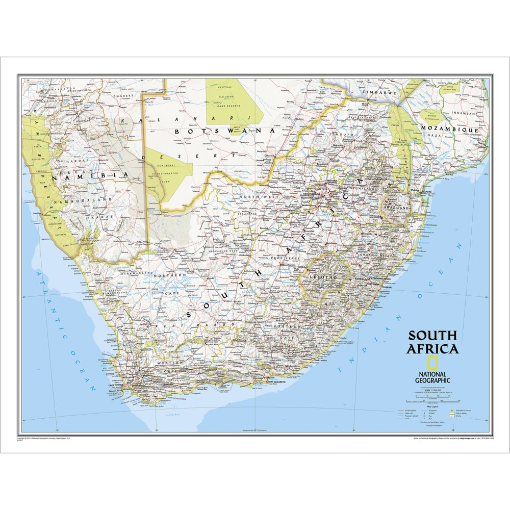 South Africa Classic Wall Map National Geographic Store - Map of south africa