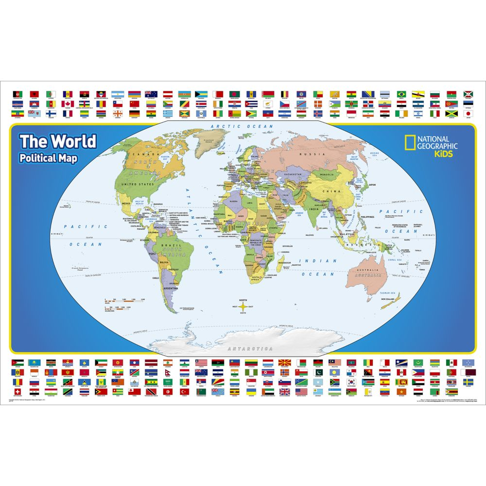 The world for kids wall map laminated national geographic store sciox Images