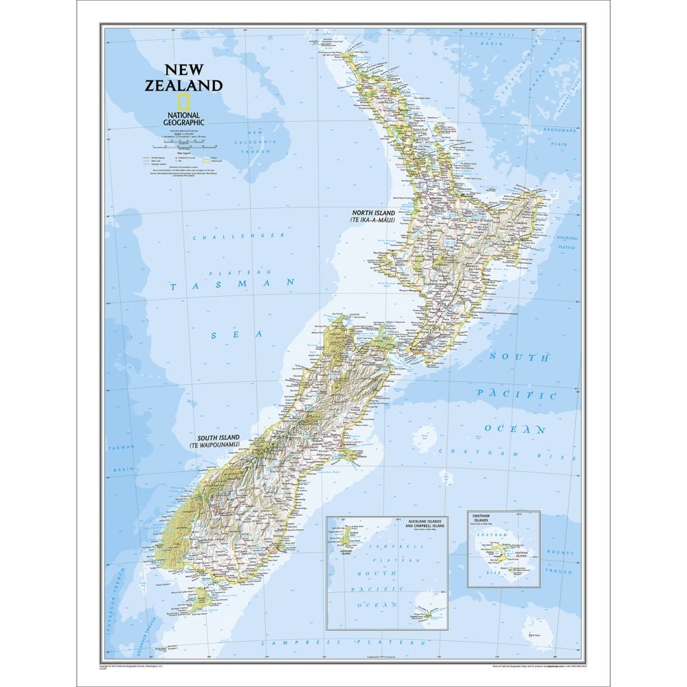 New Zealand Classic Wall Map Laminated  National Geographic Store