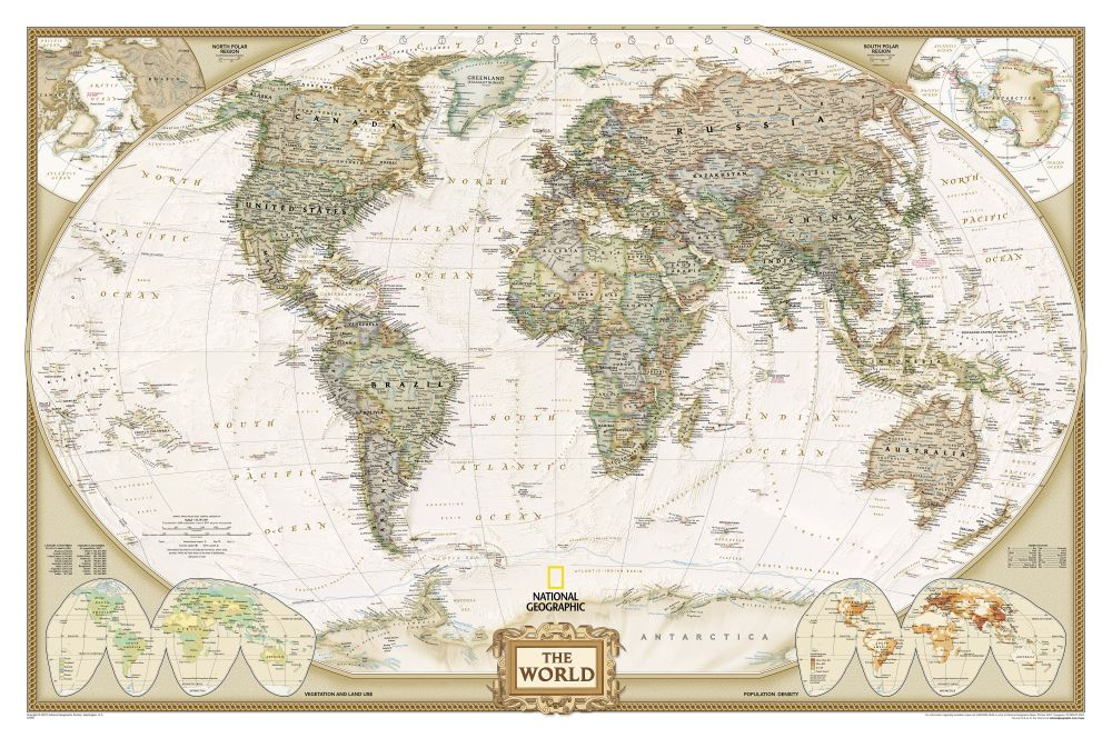 World Political Map Earthtoned Mounted  National Geographic Store