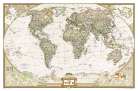 World Political Map Earthtoned Mounted National Geographic Store - Earth political map