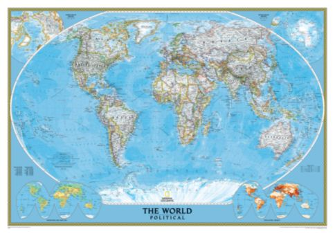 World Political Map Classic Mounted National Geographic Store - Earth political map