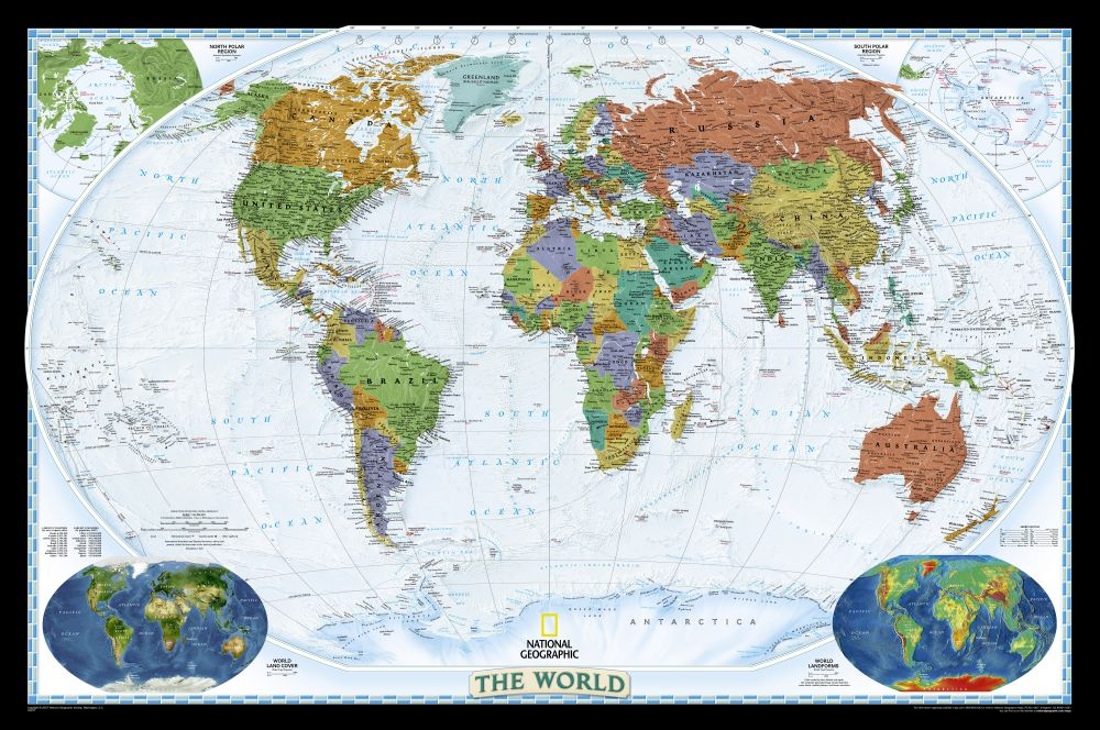 World Political Map Brightcolored Mounted National - National geographic political map