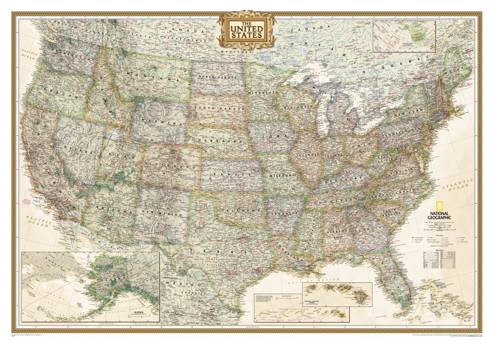 US Political Map Earthtoned Mounted National Geographic Store - Large framed us map