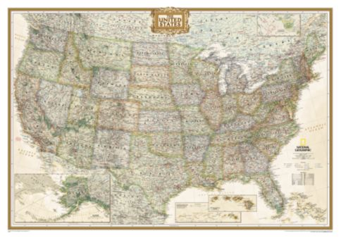 US Political Map Earthtoned Mounted National Geographic Store - Political map of the us