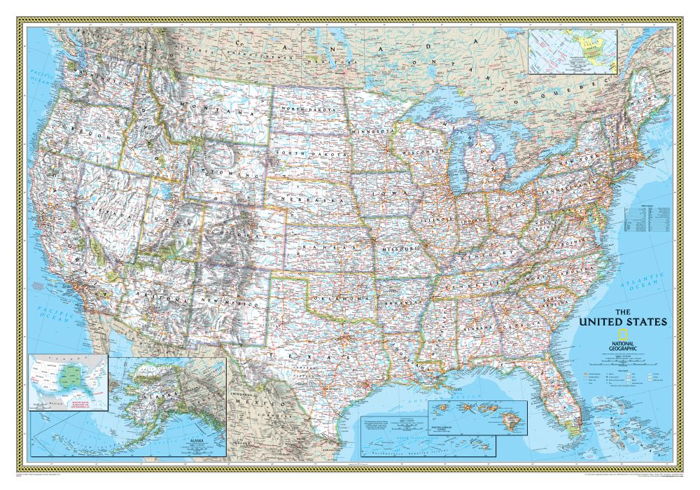 US Political Map Classic Mounted National Geographic Store - Us map with scale