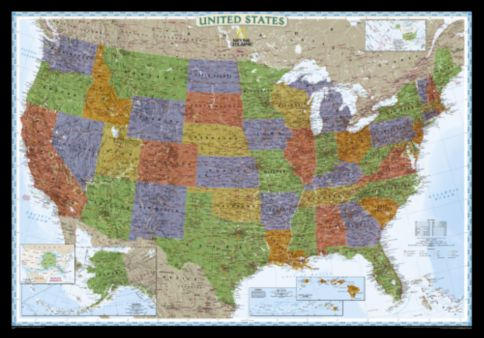 US Political Map Brightcolored Mounted National Geographic - National geographic political map