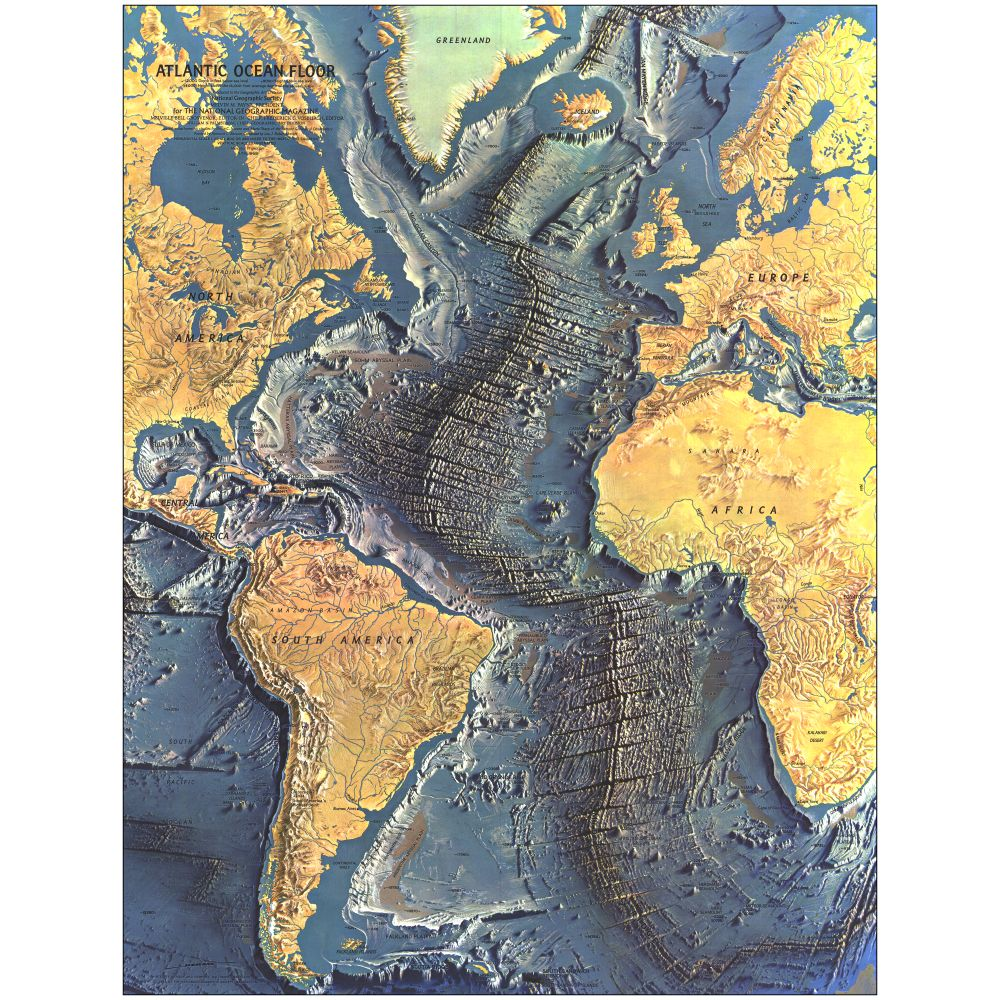 1968 Atlantic Ocean Floor Map National Geographic Store