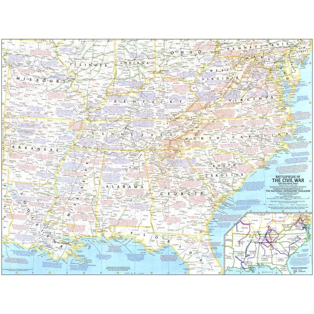 Battlefields Of The Civil War Map National Geographic Store - Us civil war map geographic image